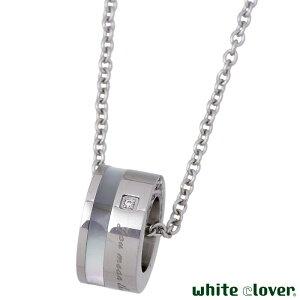 ホワイトクローバー white clover ステンレス ネックレス レディース ダイヤモンド シェル メッセージ アレルギーフリー サージカルステンレス316L 刻印可能 4SUP066WH