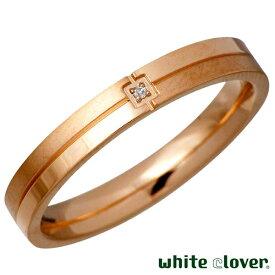 white clover【ホワイトクローバー】リング 指輪 金属アレルギー対応 レディース ダイヤモンド ステンレス クロス ライン ゴールド【楽ギフ_名入れ】 4SUR030GO