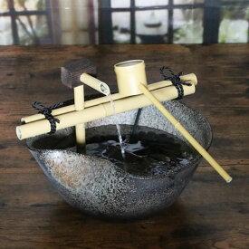 信楽焼 和風 おしゃれ 水流れ電動つくばい 陶器つくばい 循環 水琴窟 水流 蹲 筧 かけひ すいきん 箱庭 カケヒ 湧き水  dt-0030