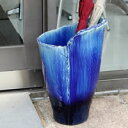 【 今だけポイント15倍 】 信楽焼 和風 おしゃれ 青ガラスひねり傘立て 玄関 インテリア 陶器 かさたて 陶器 傘立て …