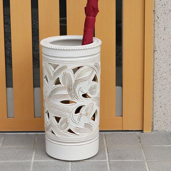 【送料無料】 信楽焼 和風 おしゃれ 傘立て 陶器 傘立て かさたて 傘入れ 壷 しがらき カサタテ やきもの 玄関 インテリア 玄関 花器 花瓶 白唐草傘立て kt-0161
