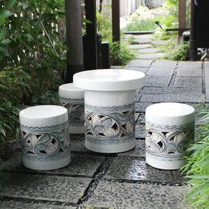 信楽焼 和風 おしゃれ 15号 ガーデンテーブル 陶器テーブル 焼き物 お庭、ベランダ用庭園セット ガーデンテーブルセット 陶器 イス テーブル ガーデンセット 屋外用 te-0010