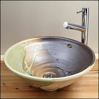 Shin Raku vidro sink hand wash bowls! Over flow type! Timeless washbasin Bowl! Stylish vanity instrument / hand wash / basin made / vanity ball / Vanity Sink / pottery / vanity units / washing pots / basin Bowl and basin earthenware / pottery / Japanese