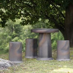 信楽焼 和風 おしゃれ 16号 ガーデンテーブル 陶器テーブル 焼き物 お庭、ベランダ用庭園セット ガーデンテーブルセット 陶器 イス テーブル ガーデンセット 屋外用 te-0033