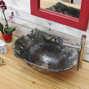 手洗い鉢 陶器洗面 信楽焼 洗面ボウル 手洗器 洗面ボール 手洗鉢 陶器 洗面鉢 鉢 手洗い器 洗面シンク 洗面器 洗面台 ボール 和風 やきもの しがらき 長角型 長方形 tr-4127