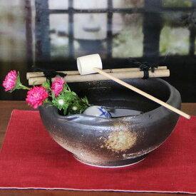 信楽焼 和風 おしゃれ つくばい 竹付き鉢 陶器つくばい 金魚鉢 めだか鉢 スイレン鉢 竹付き鉢 しがらきやき 手洗い鉢 花器 花入れ tu-0012