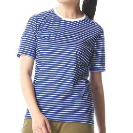 【在庫処分】ミズノ クイックドライボーダー半袖クルーネックシャツ[レディース] ブルー×ホワイト Mizuno A2MA8228 80