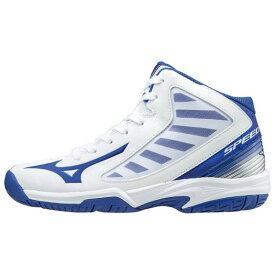 【在庫処分】ミズノ スピードチェイサーSL(バスケットボール)[ジュニア] ホワイト×ブルー×シルバー Mizuno W1GC1760 22