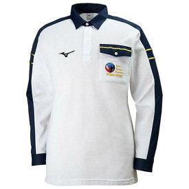 ミズノ レフェリーシャツ(長袖) ホワイト杢×ネイビー Mizuno V2JC8061 03