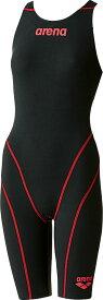 【今ならポイント15倍】アリーナ レディース 競泳用 Fina承認 ハーフスパッツオープンバック クロスバッグ アクアフォース フュージョン2 arena ARN7010W BKBR