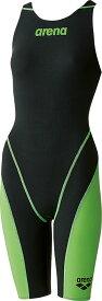 【今ならポイント15倍】アリーナ レディース 競泳用 Fina承認 ハーフスパッツオープンバック クロスバッグ アクアフォース フュージョン2 arena ARN7010W BKLG