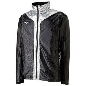 【在庫処分】ミズノ ウィンドブレーカーシャツ ブラック×シルバー Mizuno U2ME8505 90