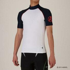 【在庫処分】【送料無料】ミズノ MARVEL ラッシュガード(半袖) メンズ ホワイト Mizuno N2JC9670 01