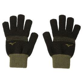 【在庫処分】ミズノ ブレスサーモ手袋(鹿の子のびのび) ブラック×ロジン Mizuno 32JY9600 93