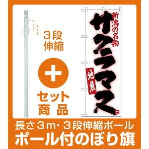 【セット商品】3m・3段伸縮のぼりポール(竿)付 のぼり旗 サクラマス (SNB-3741)