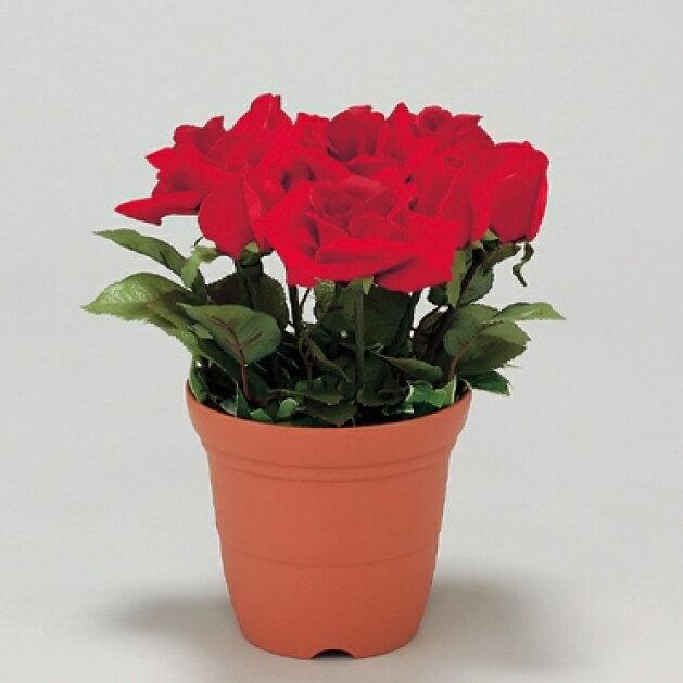 造花鉢 バラ 赤色 (安全用品・標識/保安用品/フェンス・フェンス用品)