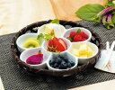 【送料無料♪】オードブル染篭B(花型パレット皿セット) (W24676) (竹籠(竹かご)/オードブル竹かご)
