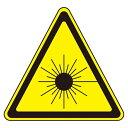 JISレーザー警告ラベルステッカー 10枚1組 サイズ: (大) 50mm三角 (027107)(安全標識・表示プレート/JISレーザ標識・…