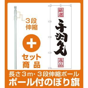 【セット商品】3m・3段伸縮のぼりポール(竿)付 のぼり旗 手羽先 (SNB-2137)