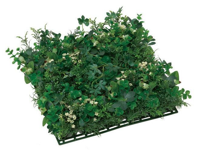 グリーンミックスマット (壁掛け/壁面用人工観葉植物) 高さ10cm 光触媒 (店舗用品/光触媒 人工観葉植物・造花・フェイクグリーン/壁掛け/壁面用)