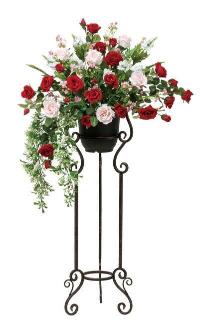 【送料無料】スカーレットローズスタンド (造花) 高さ122cm 光触媒 (店舗用品/光触媒 人工観葉植物・造花・フェイクグリーン/フロア(棚)向け)