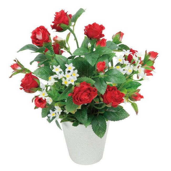 アレンジフラワー バラ(赤) (造花) 高さ23cm 光触媒 (店舗用品/光触媒 人工観葉植物・造花・フェイクグリーン/テーブル(卓上)向け)
