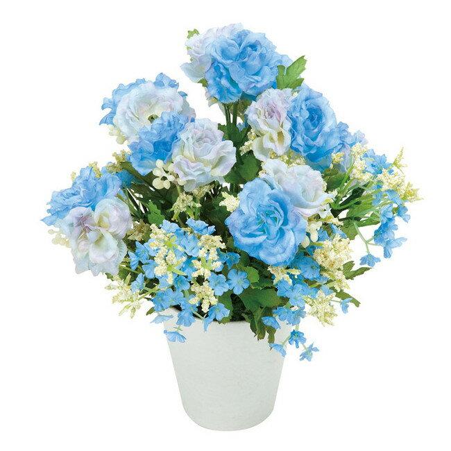 アレンジフラワー ブルー系ポット (造花) 高さ23cm 光触媒 (店舗用品/光触媒 人工観葉植物・造花・フェイクグリーン/テーブル(卓上)向け)