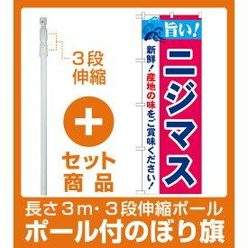 【セット商品】3m・3段伸縮のぼりポール(竿)付 のぼり旗 旨い!ニジマス (21683)