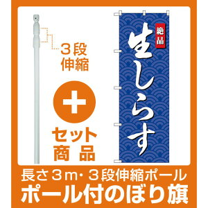 【セット商品】3m・3段伸縮のぼりポール(竿)付 のぼり旗 生しらす (SNB-4251)