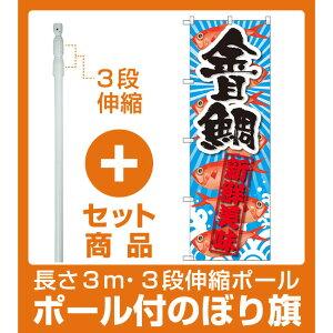【セット商品】3m・3段伸縮のぼりポール(竿)付 のぼり旗 金目鯛 新鮮美味 (SNB-2356)