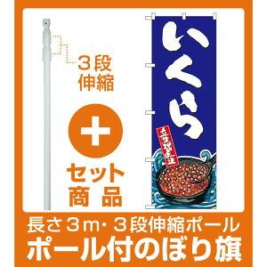 【セット商品】3m・3段伸縮のぼりポール(竿)付 のぼり旗 いくら 産地直送 イラスト (SNB-1521)