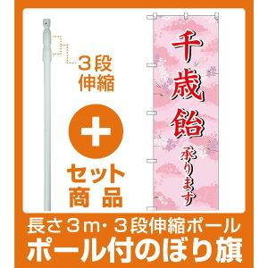 【セット商品】3m・3段伸縮のぼりポール(竿)付 のぼり旗 千歳飴承ります (SNB-3065)