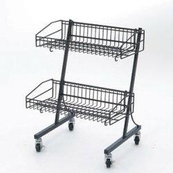 MDワゴン  黒2段タイプ(店舗用品/陳列什器/販売台・セールワゴン)