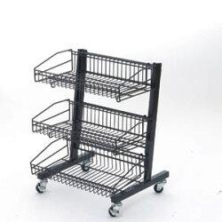 説明画像2:MDワゴン  黒2段タイプ(店舗用品/陳列什器/販売台・セールワゴン)