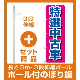 【セット商品】3m・3段伸縮のぼりポール(竿)付 のぼり旗 特選中古車 (GNB-644)
