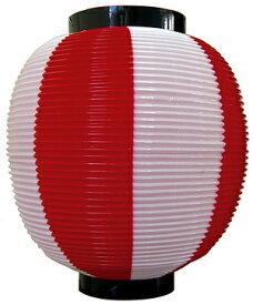 【九寸丸】ストライプカラーポリちょうちん 赤白(販促POP/お祭りちょうちん)