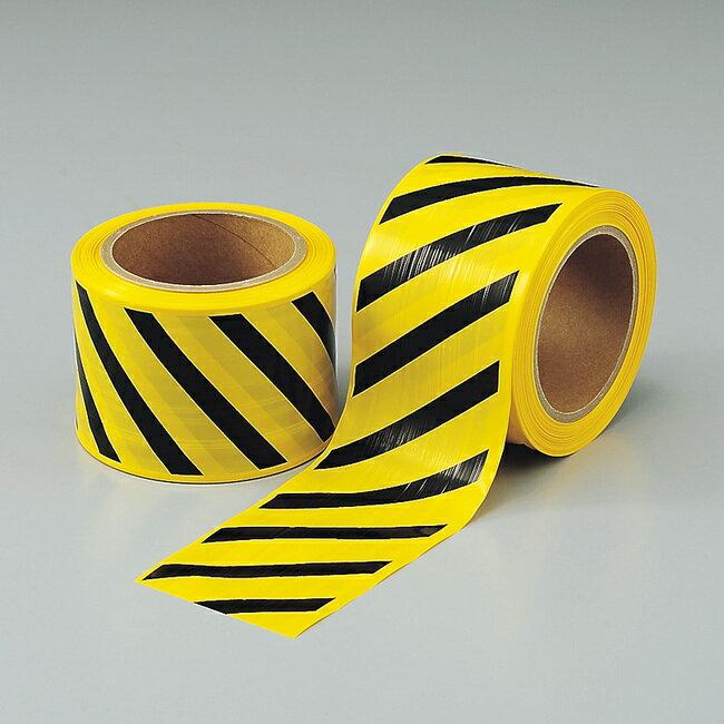 ストライプテープ (粘着無・セパ無) 80mm幅×50m巻 (安全用品・標識/災害対策標識・避難誘導看板/災害発生時の適正な行動に関する表示/復旧時の点検・確認に必要な表示)