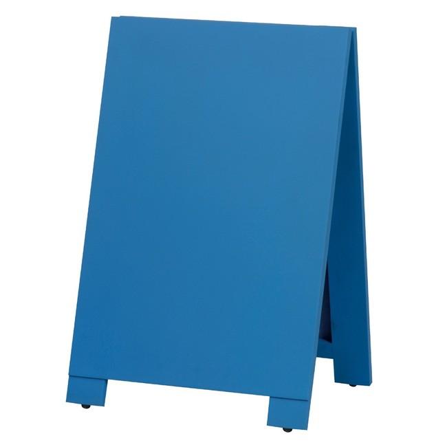 木製A型案内板 mini カラー:青 (スタンド看板/手書き木製立て看板/チョークで書ける黒板タイプ)