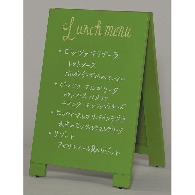 木製A型案内板 mini カラー:緑 (スタンド看板/手書き木製立て看板/チョークで書ける黒板タイプ)