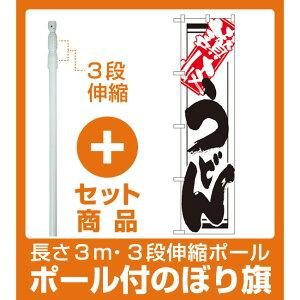 【セット商品】3m・3段伸縮のぼりポール(竿)付 スマートのぼり旗 讃岐うどん (22038)