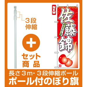 【セット商品】3m・3段伸縮のぼりポール(竿)付 のぼり旗 (7400) 佐藤錦 さとうにしき