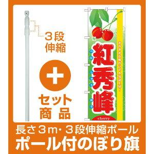 【セット商品】3m・3段伸縮のぼりポール(竿)付 のぼり旗 (7972) 旬紅秀峰