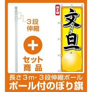 【セット商品】3m・3段伸縮のぼりポール(竿)付 のぼり旗 (7402) 文旦