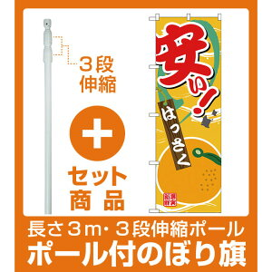 【セット商品】3m・3段伸縮のぼりポール(竿)付 のぼり旗 安い はっさく (SNB-4382)