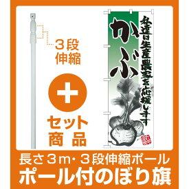 【セット商品】3m・3段伸縮のぼりポール(竿)付 のぼり旗 かぶ イラスト (21920)