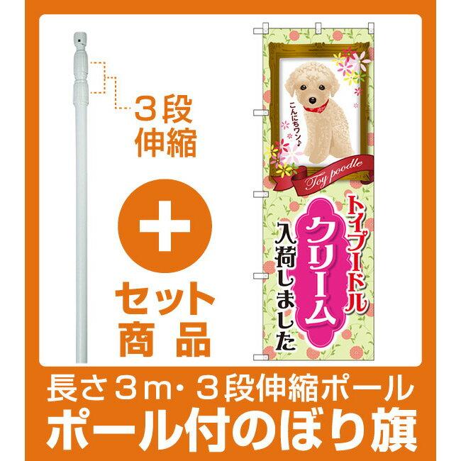【セット商品】3m・3段伸縮のぼりポール(竿)付 のぼり旗 トイプードル クリーム 入荷 (GNB-2457)(業種別/ペットショップ/犬・猫・小動物)