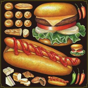 パン(5) 看板・ボード用イラストシール ホットドッグ(W285×H285mm) (販促POP/看板・ボード用デコレーションシール/洋食・カフェ)