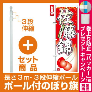 【プレゼント付】【セット商品】3m・3段伸縮のぼりポール(竿)付 のぼり旗 (7400) 佐藤錦 さとうにしき