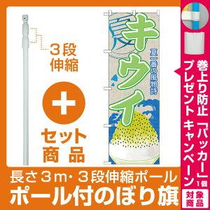 【セット商品】3m・3段伸縮のぼりポール(竿)付 のぼり旗 キウイ (かき氷) (SNB-422)