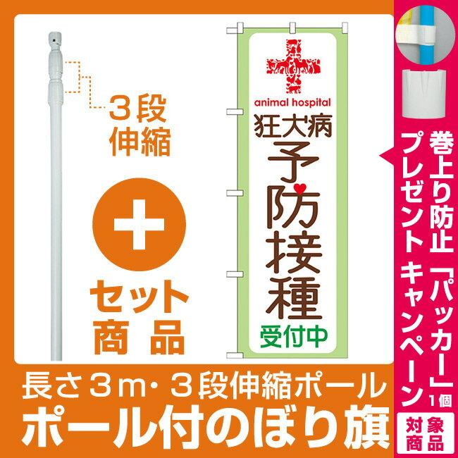 【プレゼント付】【セット商品】3m・3段伸縮のぼりポール(竿)付 のぼり旗 狂犬病予防接種 (GNB-636)